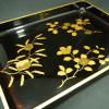 黒漆に金蒔絵の塗盆 k03