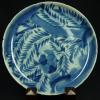古伊万里染付竹に雀の図6寸皿 t37