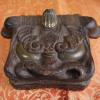 木彫 獅子頭の小筥 s-78