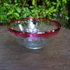 被せガラス赤 輪花の中鉢 昭和レトロ g-67