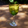 アンティークガラス盃 リキュールグラス グリーン被せガラスH10.5cm g-87