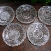 明治玻璃膾皿 プレスガラスワラビ文の中皿5枚 g-95