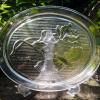 ガラス楕円皿 花鳥図 WAKO g-99