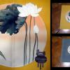 白い蓮の花の掛け袱紗 ウコン色 n-26