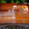 木地漆仕上げ長方形盆 木の皮を紐状に巻いた装飾 k-61
