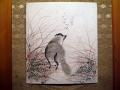 色紙 月と狸の秋草図 s-223