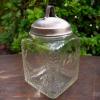 昭和レトロ 銅の蓋付ガラス瓶 取っ手が可愛い g-104