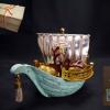 尚美堂 宗好作 宝船 銅製に銀の帆 共箱 s-236