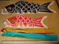 古布 ミニサイズ古い綿の鯉幟セット 96cm~76cm n-39