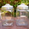 昭和レトロ ブリキ蓋ガラス瓶2個 g-120