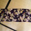 古布 本縮緬 紫地に菊・桔梗の小花紋様 美品/江戸縮緬 n-45