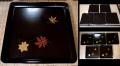 黒漆金蒔絵角盆5枚 紅葉の葉 k-78