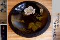 石井士口作 木鉢 「白芙蓉の図」 共箱 明治大正の漆芸家 k-82