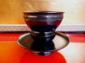 茶道具 木地真塗天目台と在銘天目茶碗付 k-85