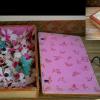 古い羽子板の羽根 可愛い和紙の箱入 s-323