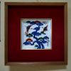 館林源右衛門 額絵 角皿 双鶴と松の図 t-689