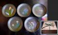 一閑張 図替わり菓子皿5枚 菖蒲・カタバミ・ヤマユリなど k-93