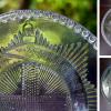 明治大正プレスガラス中皿 英王室のガーター勲章文 g-131