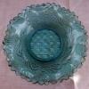 プレスガラス 水色唐草文小皿 縁フリル 明治後期 g-133