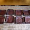 備前 煎餅皿8客 牡丹文 隅切角型豆皿 幕末~ t-787