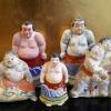 土人形 相撲 力士 5体 江戸期~ s-412
