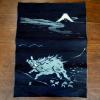 古布 絣 藍 富士に猪 縁起良い目出た文様 n-60