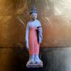 古い木彫人形 鏡を持って立つ婦人像 s-459