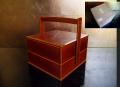 春慶塗 天然木 漆塗 手提げ二段重 菓子器 重箱  茶道具 k-126