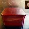 茶道具 二段縁高重 菓子器 天然木 漆塗 柿合塗 k-128