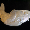 白蝶貝 彫物 鯉 緻密な細工 オブジェ 置物 s-478