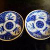印判手塩皿2客 可愛いチューリップと椿文 径13cm  t-856