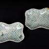 型紙摺印判 糸巻形豆皿2客 網代文と江戸小紋柄 t-865