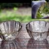明治ガラス 型吹菊形盃2客 g-140