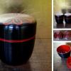 信玄弁当なつめ形 4個 千筋菊文 黒漆風樹脂製 茶道具 茶懐石 k-137