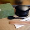 茶道具 茶懐石道具 飯器 杓子・箸付 樹脂ウレタン塗美品 k-140