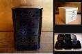 茶道具 天然木 黒漆塗 菓子器 五段縁高重 柿合塗 七宝透し文 k-142