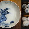 古伊万里染付膾皿5客 満月にススキとカヤの図 t-947