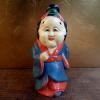 木彫 お多福人形 お福さん 新年に縁起物 漆彩色 s-520