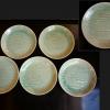 珉平か 淡い緑釉  富士に松原図 七寸皿5客 t-991