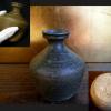 李朝鉄釉徳利 褐色を帯びた緑釉 高麗青磁 酒器 t-1011