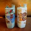 鶯徳利 鳴き徳利 2点 龍図hand painted japan 青磁鹿紅葉図 統制陶器 t-1026
