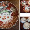 古伊万里色絵膾皿5客 御簾から覗く満開の桜と瓔珞文 t-1035