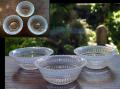 アンティーク プレスガラス小鉢3客 輪花白スモーク g-146