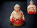 昭和レトロ 素焼きの貯金箱 曲げが可愛いお相撲さん s-537