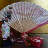 昭和レトロ 舞妓さん豆人形 扇 ミニぽっくり3点 s-538