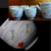 西肥辻製 色絵茶器 桜の舞う波に千鳥の図 無傷 大正~ y-41
