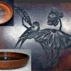 小ぶりな刳り抜き盆 蓮と鳥の彫文様 径22cm  k-165