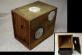 時代 桐製 小箱 前扉 胡粉の優美な菊と金切り箔散し k-168