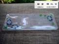 ガラス長皿 朝顔 新倉晴比古作 菓子器 飾皿 未使用品  g-150