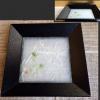 ガラス菓子器 木地本漆 四方盆  露草文 夏の冷菓に k-177